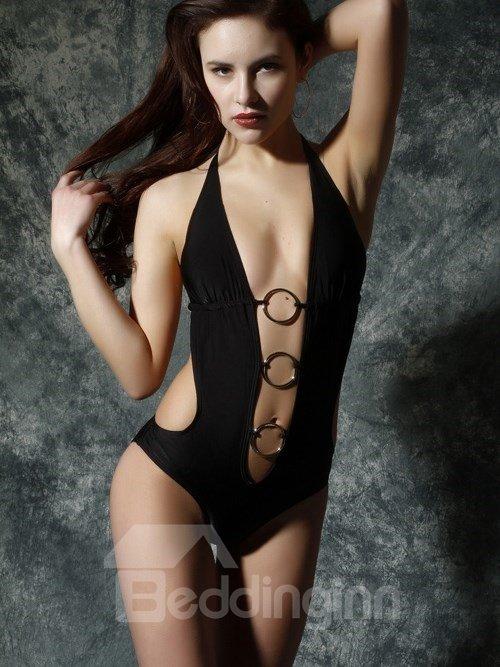 New Arrival Hot Black Backless One-piece Swimwear