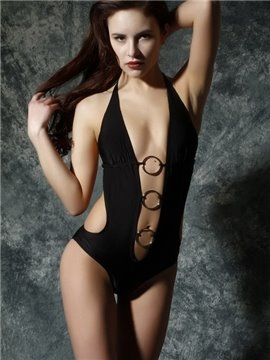 New Arrival Hot Black Backless One-piece Swimwear