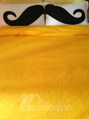Cotton Mustache Pattern 2-Piece Pillowcases