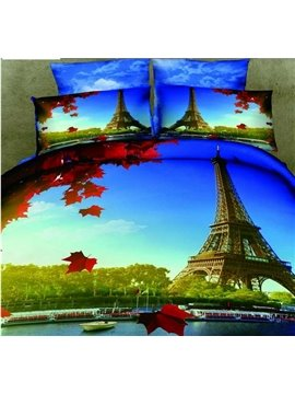 New Arrival 100% Cotton Beautiful Eiffel Tower Print 4 Piece Bedding Sets