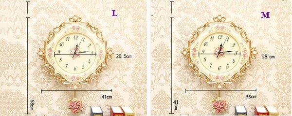 Elegant European Style Resin Floral Print Design Wall Clock