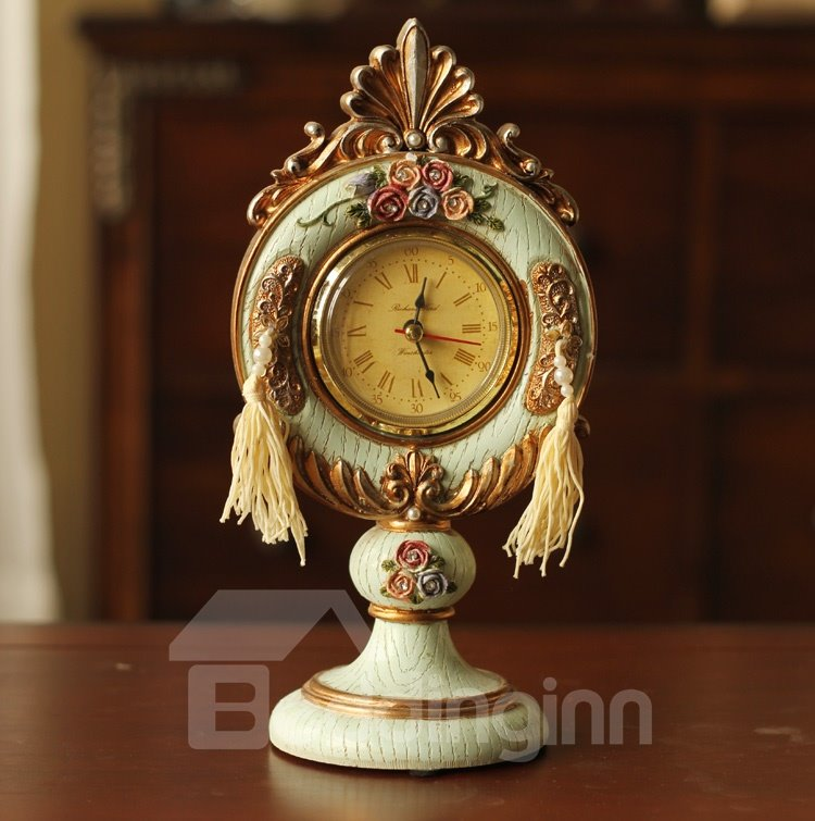 New Arrival Beautiful Antique Emboss Roses Style Decorative Table Clock ...