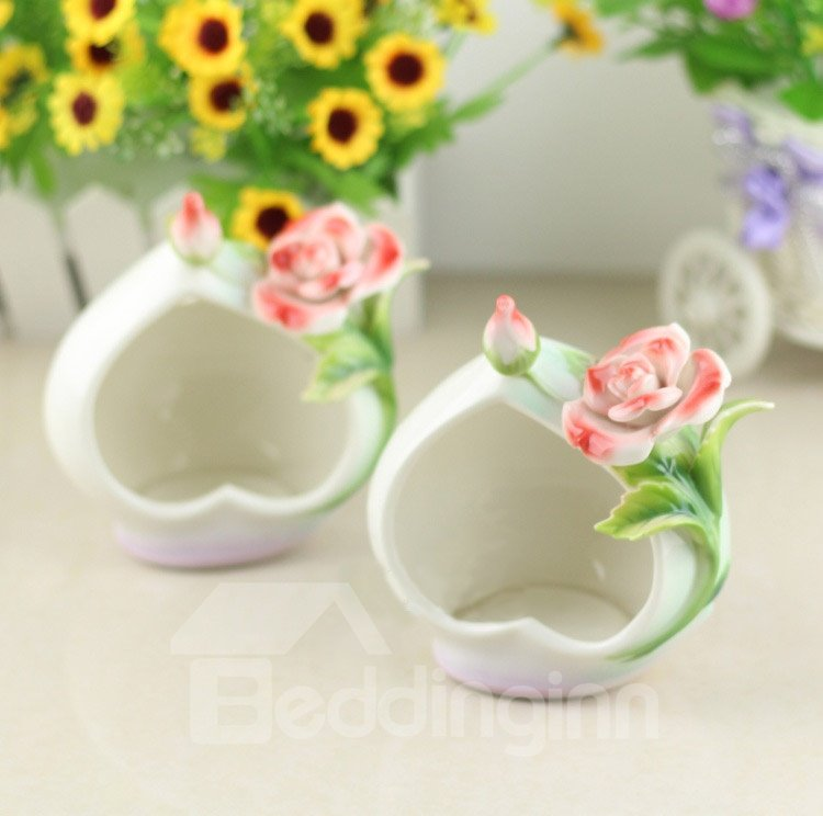 New Arrival Beautiful White Color Rose Design Ceramic Candle Holder
