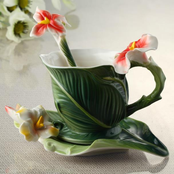 Image For New Arrival Elegant Banana Leaf Style Enamel Porcelain Coffee Cup Sets