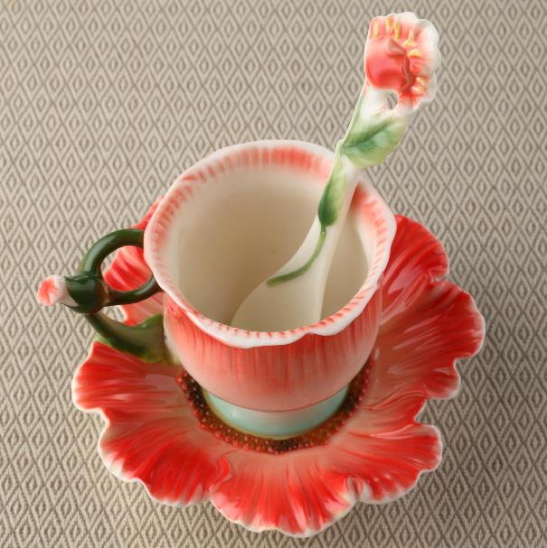New Arrival Creative Poppy Flower Design Red Color Exquisite Enamel Porcelain Coffee Cup Sets  beddinginn