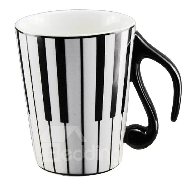 Creative Porcelain Black and White Piano Keys Design Coffee Cup