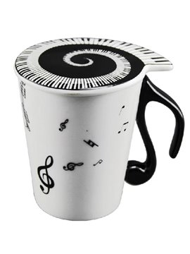 New Arrival Sweet Notes and Piano Keys Design Coffee Cup with Lid