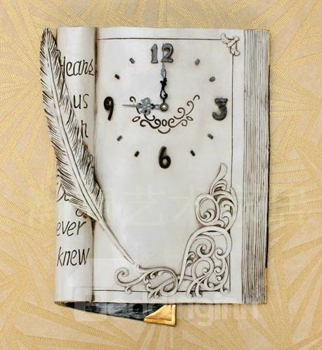 White American Style Creative Antique Book Design Decorative Wall Clock