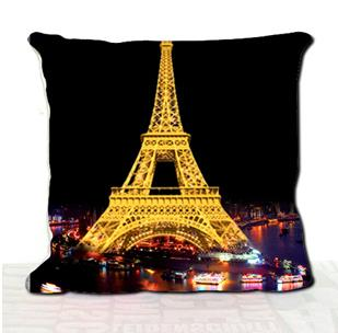 Fashion Paris Eiffel Tower at Night 3D Print Throw Pillow
