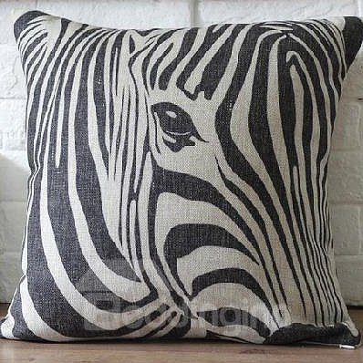 New Arrival Black and White Zebra Print Linen Throw Pillow