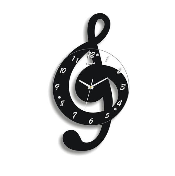 Image For Amusing Fashion Music Note Shape Design Mute Battery Wall Clock