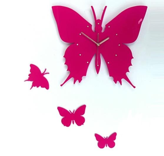 Modern Design Black Beautiful Butterfly Shape Wall Clock