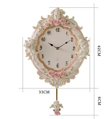 White Cute Resin Angel Cupid and Roses Design Decorative Wall Clock