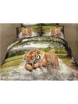 New Arrival High Quality Jumping Tiger in Water Print 4 Piece Bedding Sets