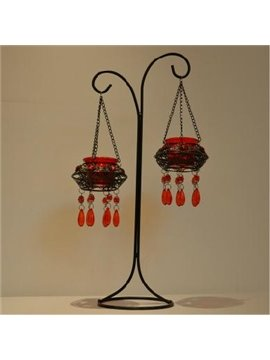 Vintage Morocco Wrought Iron Candle Holder withTwo Wine Red Glass Head