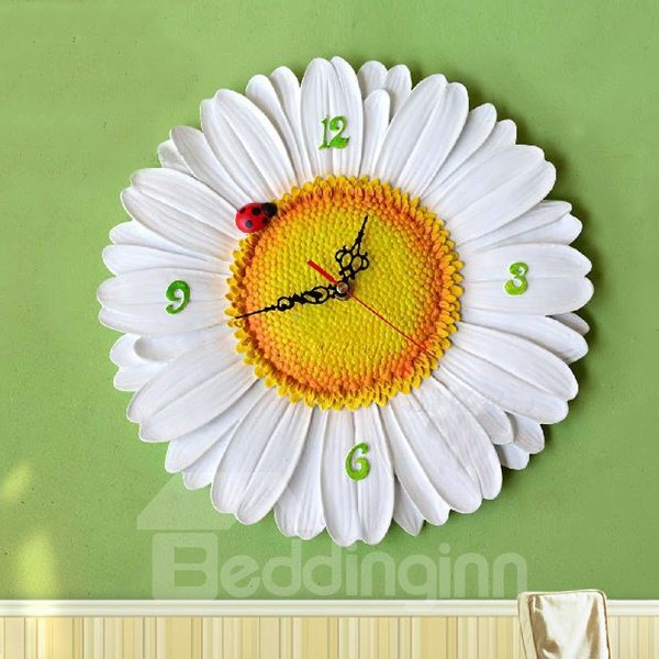 New Arrival Lovely White Chrysanthemum with a Ladybug Design Wall Clock