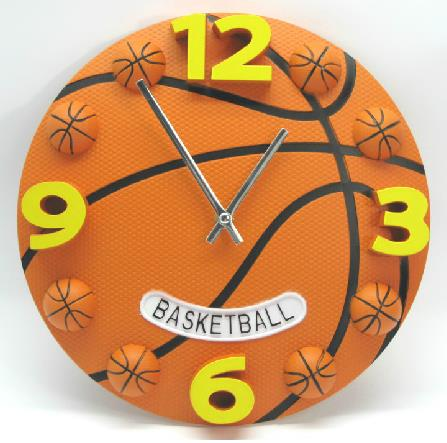 Image For New Arrival Lovely Creative Basketball Design Plastic Wall Clock