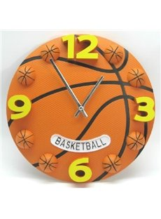 New Arrival Lovely Creative Basketball Design Plastic Wall Clock