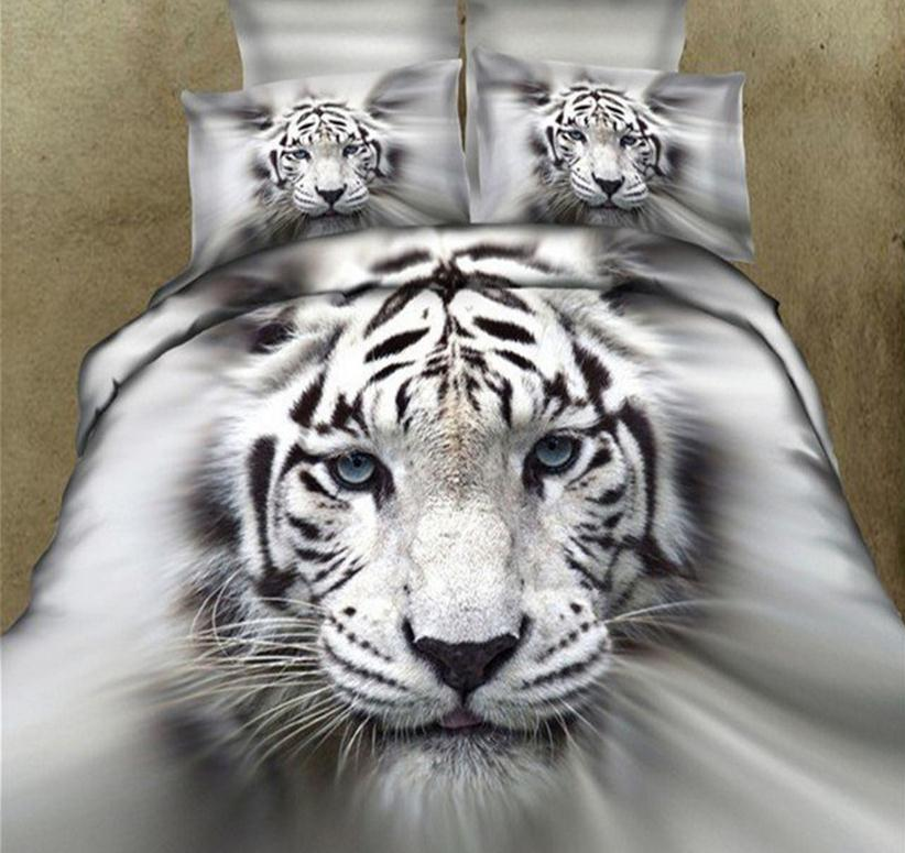 Image For 3D White Tiger Printed Cotton 4-Piece Bedding Sets/Duvet Covers