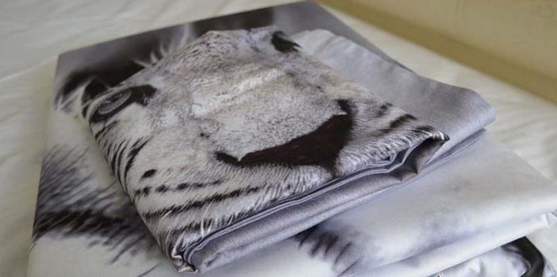 3D White Tiger Printed Cotton 4-Piece Bedding Sets/Duvet Covers
