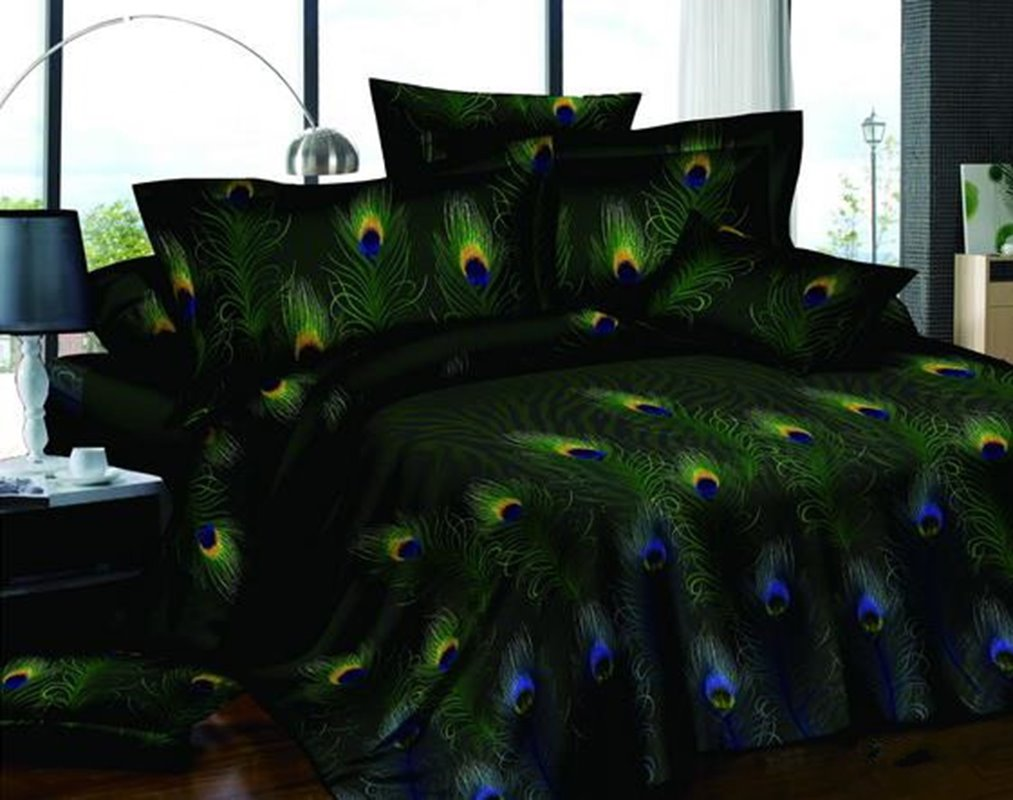 Pastoral Green 4-Piece Peacock Feathers Printed All Cotton Bedding Sets