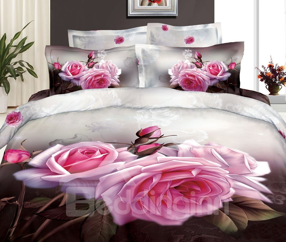 3D Pink Roses and Buds Printed Cotton 4-Piece Bedding Sets/Duvet Covers