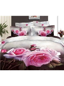 New Arrival Beautiful Rose Flowers with Buds Patterns 4 Piece Bedding Sets
