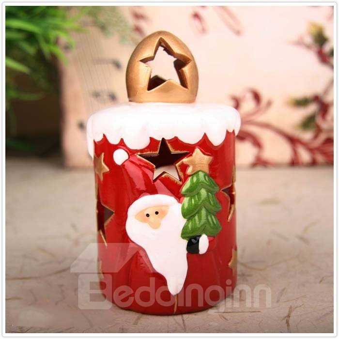 New Arrival Lovely Santa Holding Christmas Tree Design Candle Holder