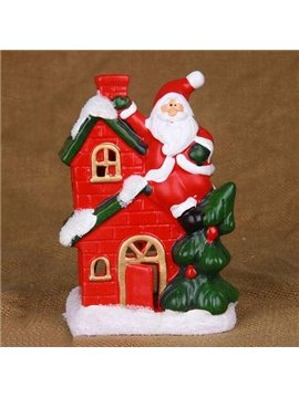 New Arrival Lovely Santa Claus Climbing a Chimney Design Candle Holder