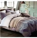 Elegant Purple Leopard Printed Knitted Cotton 4-Piece Bedding Sets/Duvet Cover