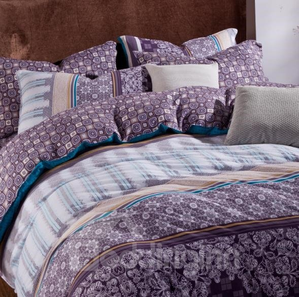 Elegant Purple and Blue Floral Patterns Kintting Bedding ... - photo#12