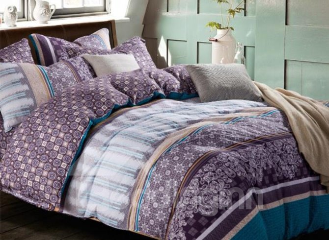 Elegant Purple and Blue Floral Patterns Kintting Bedding ... - photo#42
