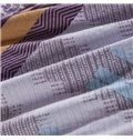 Elegant Purple and Blue Floral Patterns Kintting Bedding Sets with Fitted Sheet