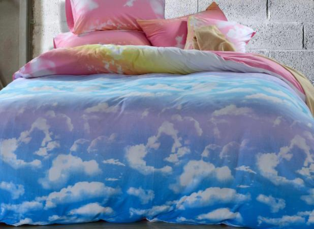 Lovely Clouds and Blue Sky Patterns Cotton 4-Piece Bedding Sets/Duvet Cover