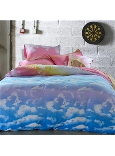 High Quality Lovely Clouds Patterns Comfortable Kintting Bedding Sets with Fitted Sheet