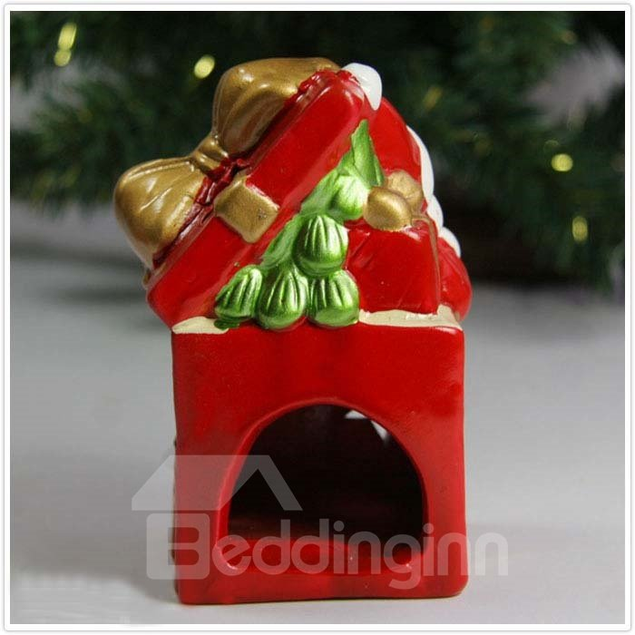 New Arrival Lovely Santa Claus Carrying Gift on Left Shoulder Hollowed Candle Holder