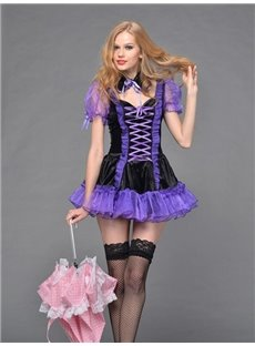 New Arrival Sexy Lace-up Purple Mesh Costume with Cute Bowknot