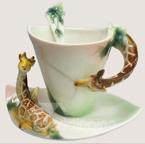 New Arrival Cute Giraffe Style Enamel Porcelain Coffee Cup Sets