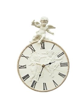 New Arrival Antique Lovely Cupid Angel Design Floral Border Resin Wall Clock