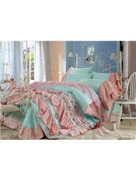 Lovely Blue Color Pink Chiffon Floral Borders Cinderella 4-Piece Duvet Cover Sets