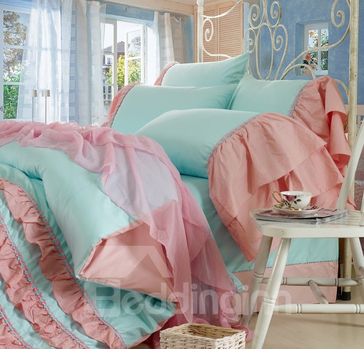 New Arrival Lovely Blue Color Pink Chiffon Floral Borders 4 Piece Bedding Sets