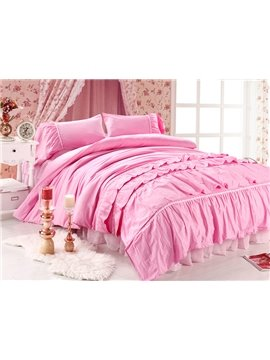 New Arrival Beautiful All Pink Floral Borders Chiffon Bed-skirt 4 Piece Bedding Sets
