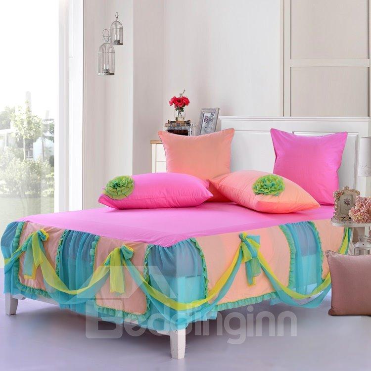 ... New Arrival Sweet Pink Color Flower Applique Design Bed Skirt 6 Piece Bedding  Sets ...