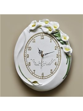New Arrival European Style Elegant Tulip Flowers Design Embossed Wall Clock