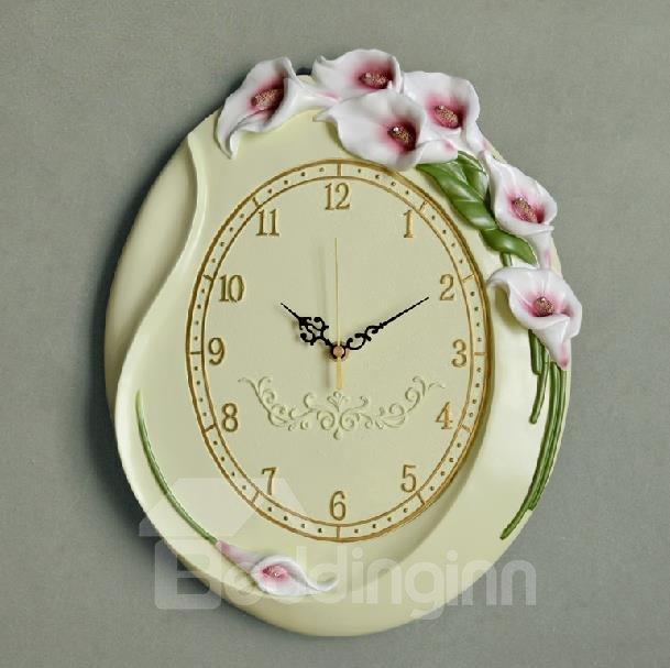 New Arrival European Style Elegant Tulip Flowers Design Embossed Wall Clock