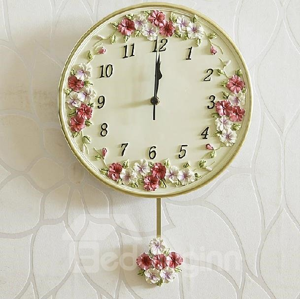 New Arrival European Style Colorful Flowers Embossed Round Wall Clock