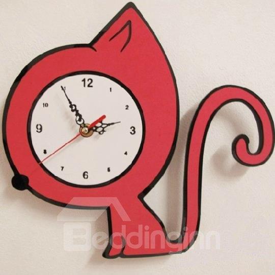 nice design quiet wall clock. New Arrival Lovely Quiet Red Kitten Design Wall Clock for Kids