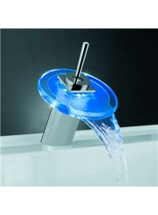 LED Color-changing Temperature Control Luminous Stick Handle Round Bathroom&Kitchen Faucet