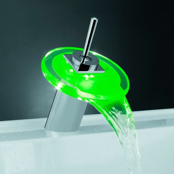 LED Color-changing Finish Chrome Temperature Control Bathroom/Kitchen Faucet