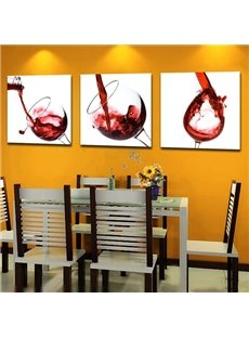 Elegant Red Wine Glass Print 3-Panel Cross Film Canvas Wall Art Prints